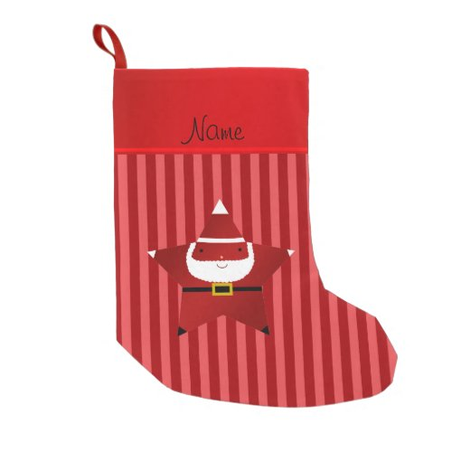 Personalized name star santa red stripes small christmas stocking