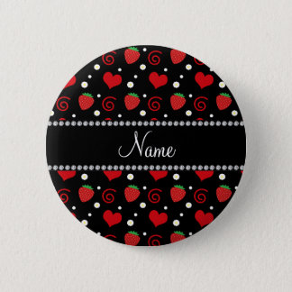 Personalized name strawberry flowers swirls button