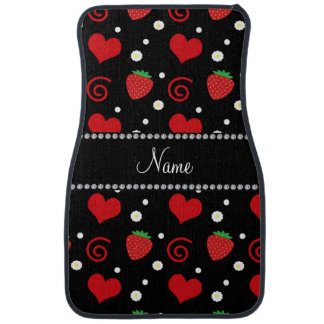 Personalized name strawberry flowers swirls car mat