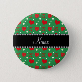 Personalized name strawberry flowers swirls green button