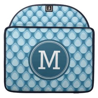Personalized Name Stylish Blue Teardrop Monogram MacBook Pro Sleeve
