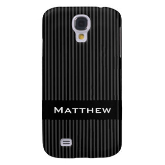 Personalized name stylish gray black stripes samsung galaxy s4 cover