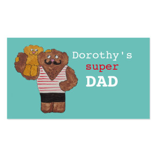 Personalized Name Super Dad Circus Strongman Daddy Double-Sided Standard Business Cards (Pack Of 100)