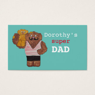 Personalized Name Super Dad Circus Strongman Daddy Business Card