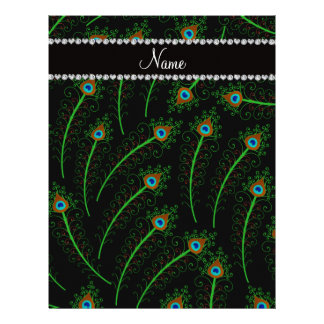 Personalized name swirly black peacock feathers letterhead