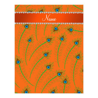 Personalized name swirly orange peacock feathers letterhead