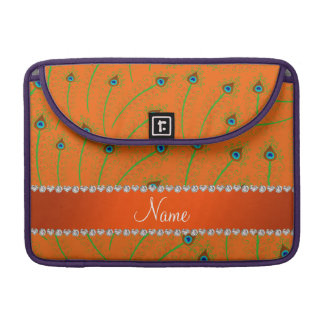 Personalized name swirly orange peacock feathers sleeve for MacBooks