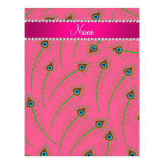 Personalized name swirly pink peacock feathers letterhead