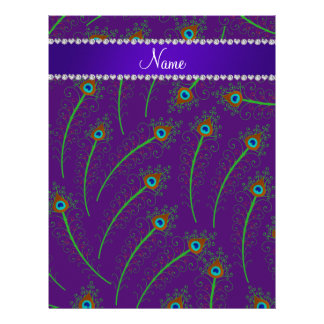 Personalized name swirly purple peacock feathers letterhead