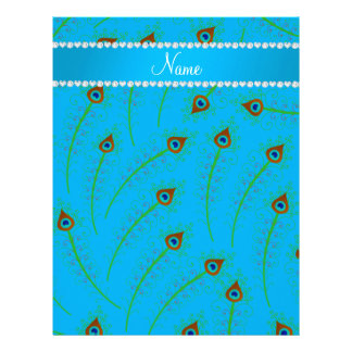 Personalized name swirly sky blue peacock feathers letterhead