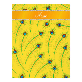 Personalized name swirly yellow peacock feathers letterhead