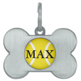 Personalized name tag for pets with tennis ball