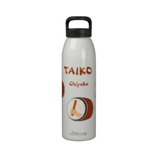 Personalized Name Taiko Drum Japanese Drummer Reusable Water Bottles