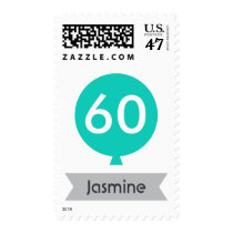 Personalized name teal balloon 60th birthday postage