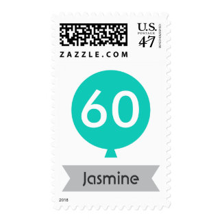 Personalized name teal balloon 60th birthday postage stamp