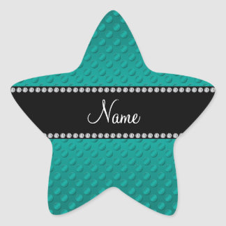 Personalized name teal polka dots star sticker