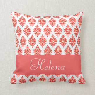 Personalized,Name,Text,Damask,Pale Red Pillow