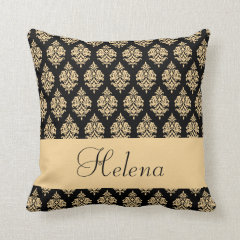 Personalized,Name,Text,Damask Pattern,Gold Pillow