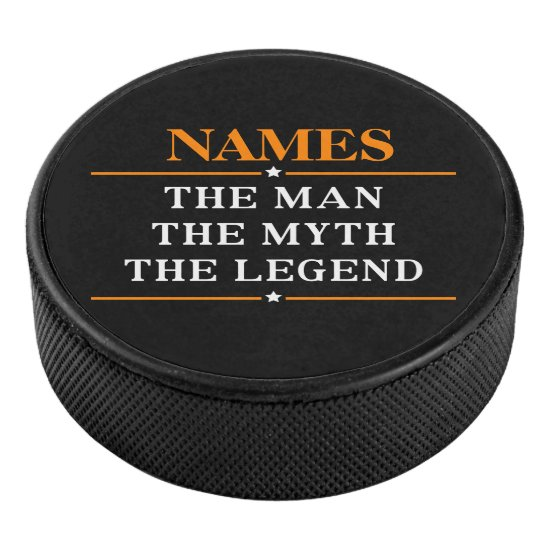 Personalized Name The Man The Myth The Legend Hockey Puck
