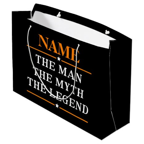Personalized Name The Man The Myth The Legend Large Gift Bag