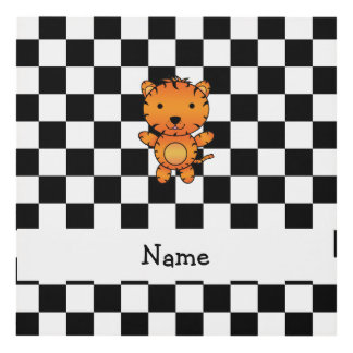 Personalized name tiger black and white checkers wood wall art