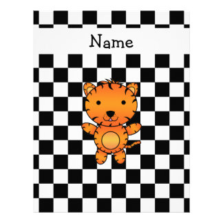 Personalized name tiger black and white checkers letterhead