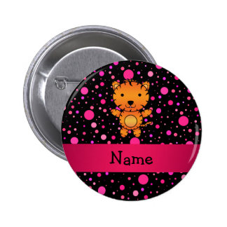 Personalized name tiger black pink polka dots buttons