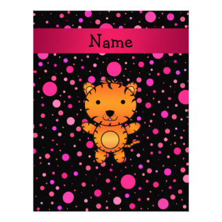 Personalized name tiger black pink polka dots personalized letterhead