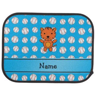 Personalized name tiger blue baseballs car floor mat