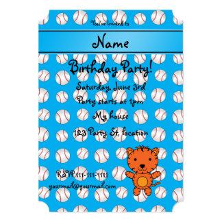 Personalized name tiger blue baseballs personalized invites