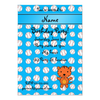 Personalized name tiger blue baseballs custom invitation