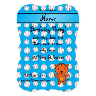 Personalized name tiger blue baseballs announcement