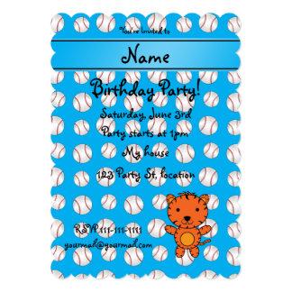 Personalized name tiger blue baseballs cards