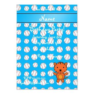 Personalized name tiger blue baseballs custom invite