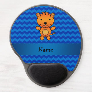Personalized name tiger blue chevrons gel mouse pad