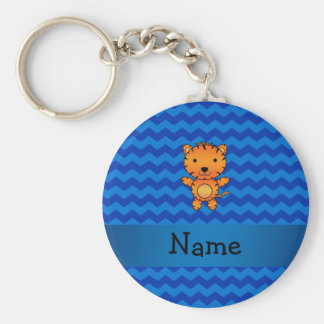 Personalized name tiger blue chevrons key chains