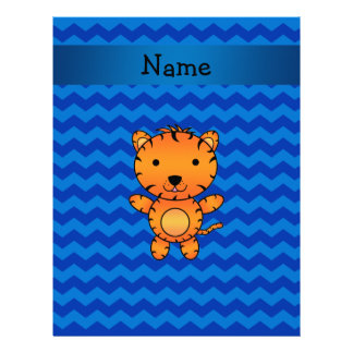 Personalized name tiger blue chevrons letterhead template