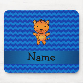 Personalized name tiger blue chevrons mouse pad