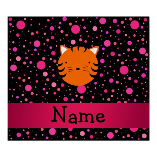 Personalized name tiger face black pink polka dots poster