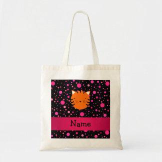 Personalized name tiger face black pink polka dots tote bag