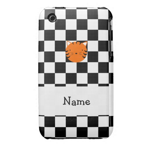 Personalized name tiger face black white checkers Case-Mate iPhone 3 case