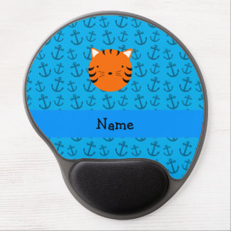 Personalized name tiger face blue anchors pattern gel mouse pad