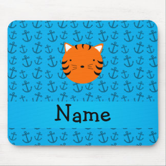 Personalized name tiger face blue anchors pattern mouse pad