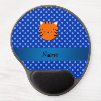 Personalized name tiger face blue polka dots gel mouse pad