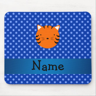Personalized name tiger face blue polka dots mouse pad