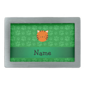 Personalized name tiger face green paw pattern rectangular belt buckles