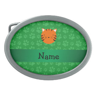 Personalized name tiger face green paw pattern belt buckles