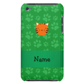 Personalized name tiger face green paw pattern iPod touch cover