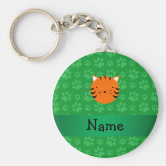 Personalized name tiger face green paw pattern key chains
