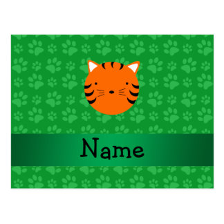 Personalized name tiger face green paw pattern post cards